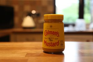 Colman's Mustard jar on a table