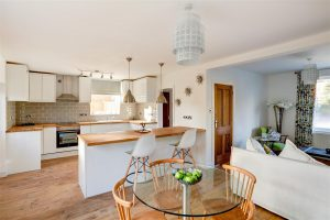 bright open plan dining area and kitchen