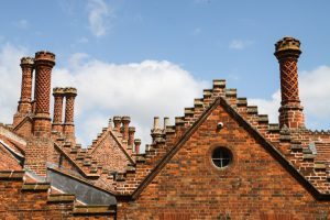 Brick rooftops and chimneys in Holkham