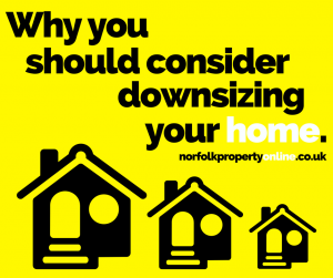 Graphic with the words 'Why you should consider downsizing your home '